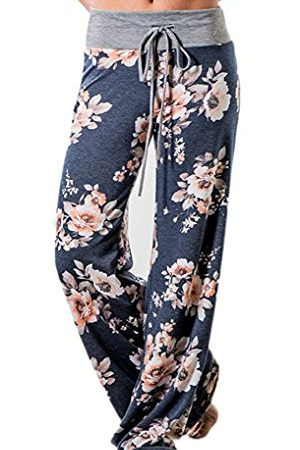 Elsofer Women's Pajama Lounge Pants Floral Print Comfy Casual Stretch Palazzo Drawstring Pj Bottoms Pants Wide Leg (Tag M (US 6), Blue)