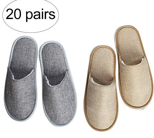 Suky&Woody Featured Individually Packed Cotton and linen for Hotel Motel Homestay Airbnb Party Spa Slipper 20 Pairs