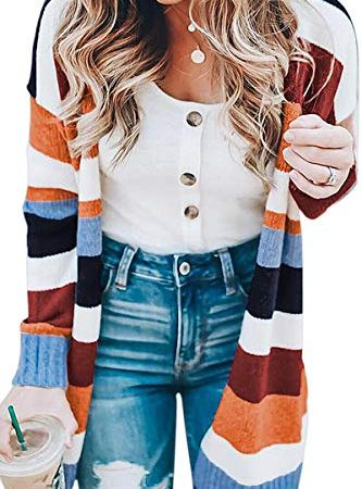 ECOWISH Womens Floral Striped Draped Kimono Cardigan Long Sleeve Open Front Casual Knit Sweaters Coat Floral M